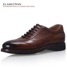 ELANROMAN Luxury Men Dress Shoes Men French Bullhide Handmade Lace Up British Style Design Wedding Office Flats Size:39-48