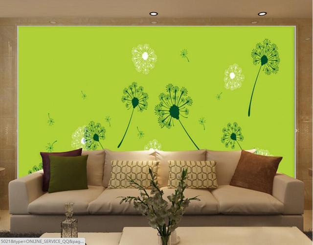 Kustom Hijau Mode Segar Dandelion Mural Wallpaper Kamar Hotel