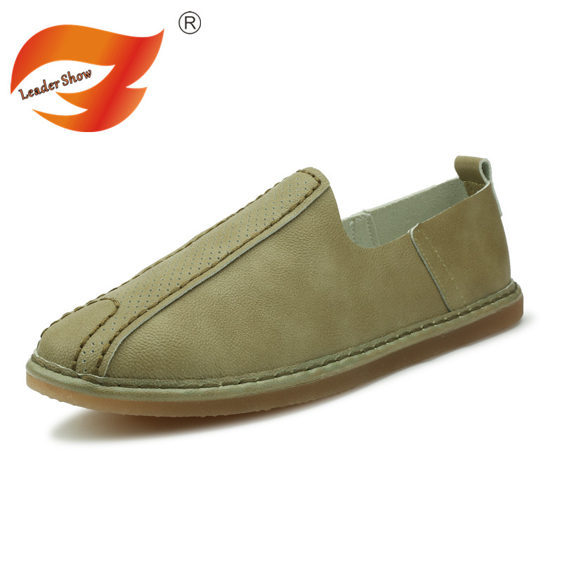 Leader Show New Male Leather Loafers Men Fashion Walking Shoes Slip On Flats Men Driving Shoes Casual Outdoor Shoes Soft Shoes fashion nature leather men casual shoes light breathable flats shoes slip on walking driving loafers zapatos hombre