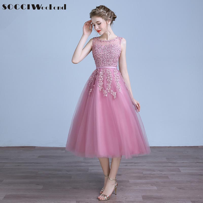 Hearty Socci Tulle Lace Appliques Short Cocktail Dresses Zipper Back A-line Formal Wedding Party Dress Pearls Beading Reception Gowns Weddings & Events