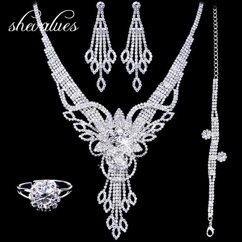 Rhinestone Bridal Jewelry Sets for Women Crystal Waterdrop Necklaces Bracelets Earrings Rings for Women Wedding Accessories