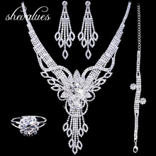 Rhinestone Bridal Jewelry Sets for Women Crystal Waterdrop Necklaces Bracelets Earrings Rings for Women Wedding Accessories