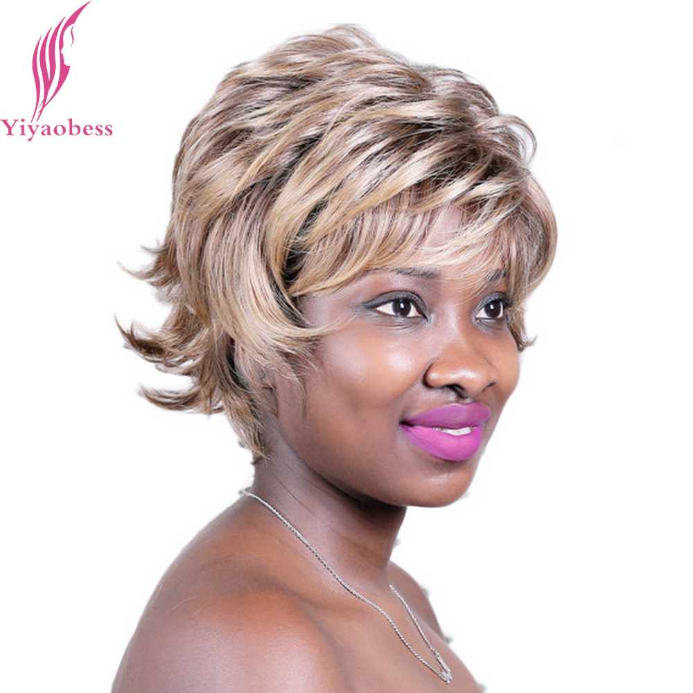 Yiyaobess 6inch Puffy Blonde Wig Heat Resistant Synthetic African American Short Curly W ...