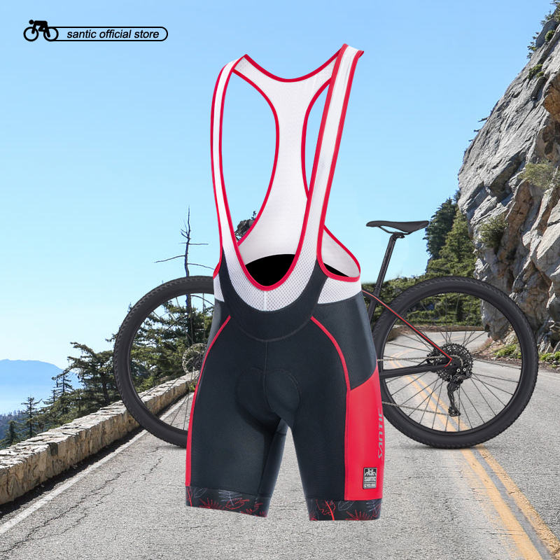Santic Men Cycling Bib Shorts 4D Coolmax Padded Bicycle Bike Clothing ciclismo bicicleta M-3XL K7MC028 santic cycling shorts men bib shorts 4d padded quick dry breathable mesh mountain road bicycle bike shorts ciclismo original