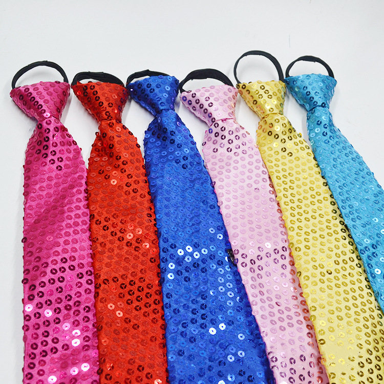 38-8 CM Sequined Tie  Adults Children General Korean Version Of The Sequined Necktie Hip Hop Dance Magic Show Stage Accessorie