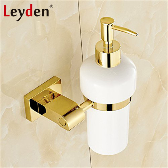 Leyden Golden Liquid Soap Dispenser With Ceramic Container Bottle Wall Mounted Br Set Bathroom Accessories