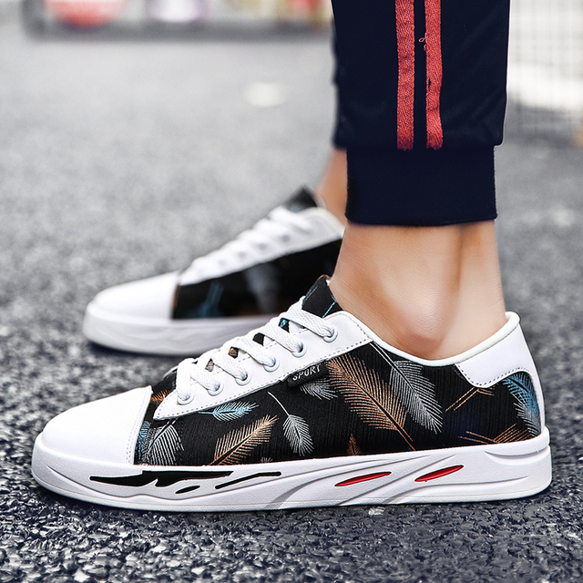 7977a31676 Spring new men's canvas tide Harajuku men's printing embroidery shoes wild  art personality wild white shoes