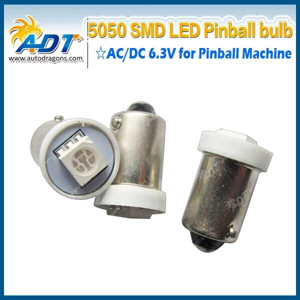 100pcs Ba9s #44 #47 AC 6.3V 5050smd pinball led bulbs for pinball game machine parts no flicking anti ghost