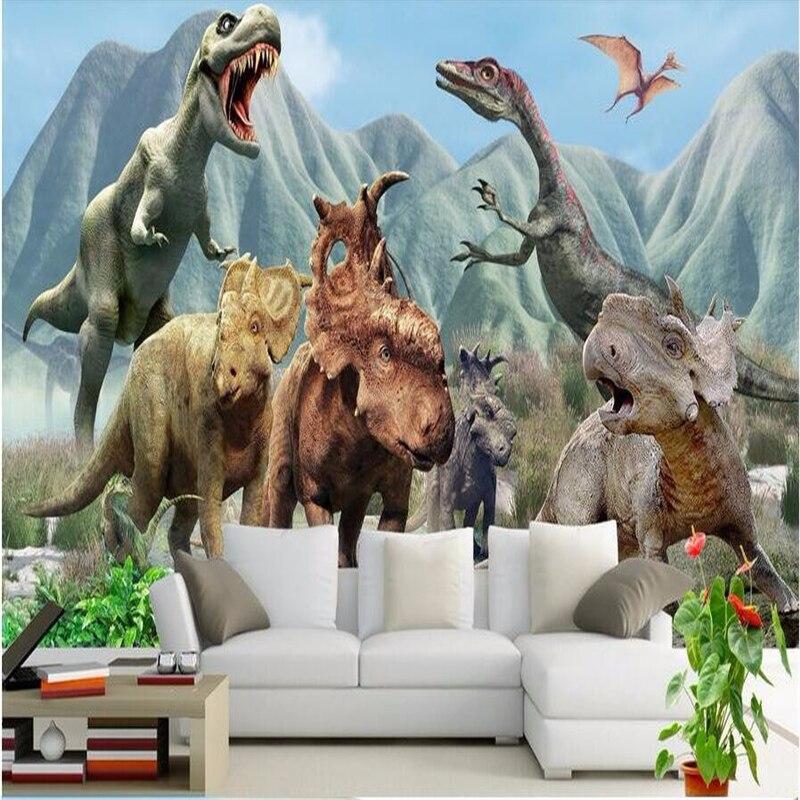 Beibehang custom 3d large mural wallpaper for walls 3 d for Dinosaur mural wallpaper