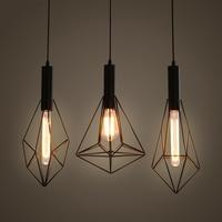 Vintage Cage Hanging Pendant Lights iron minimalist retro Scandinavian loft pyramid pendant lamp metal Black Hanging Lamp