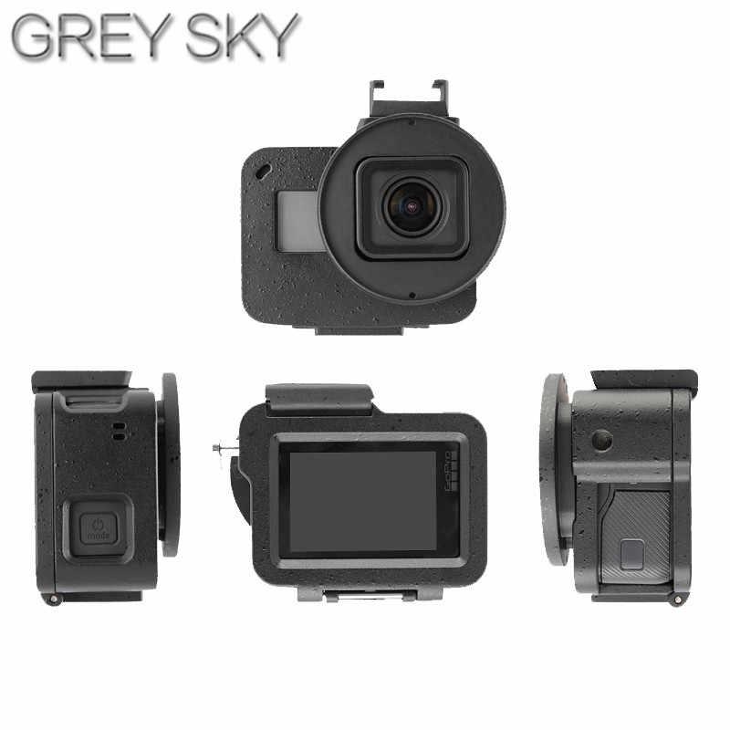 الذهاب برو الغلاف الواقي الحال بالنسبة GoPro بطل 7 6 إطار التبريد الألومنيوم مقشر سبائك Hero5 Hero7 قفص معدني + UV تصفية الكاميرا