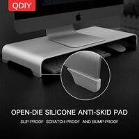 QDIY Computer Monitor Screen LCD Heightened Aluminum Alloy Base Desktop Keyboard Rack Storage Shelf Chassis