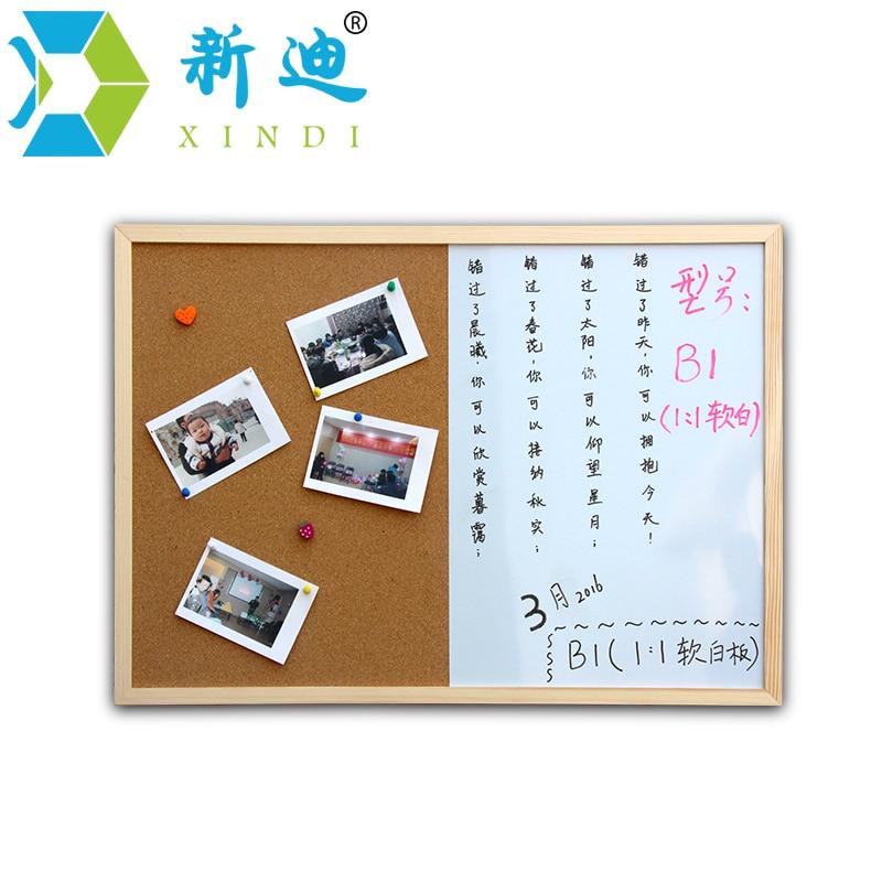 xindi message cork board wood frame whiteboard drawing boards combination 3040cm bulletin magnetic marker