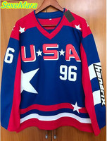 SexeMara Mighty Ducks D2 Movie Team USA Hockey Jersey 96 Charlie Conway Stitched All Sewn Blue