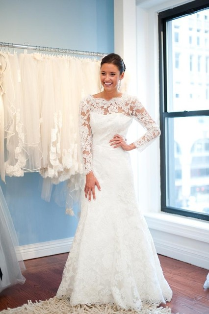 43e65f7bbb Scoop escote de manga larga vestido de boda sin espalda con la joyería  Dearming encaje blanco