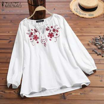 2019 ZANZEA Vintage Embroidery Shirt Autumn Blouse Women V Neck Long Sleeve Cotton Linen Tops Plus Size Robe Femme Party Blusas 2