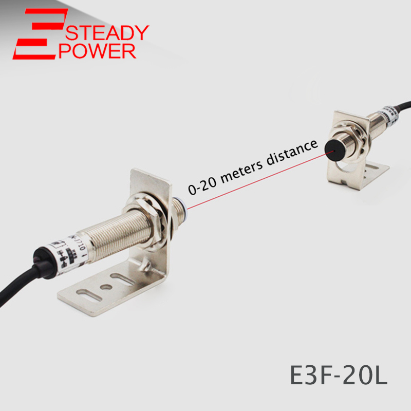 laser beam photoelectric switch E3F 20L infrared sensor switch 20 meters NPN NO sensor-in Switches from Lights & Lighting
