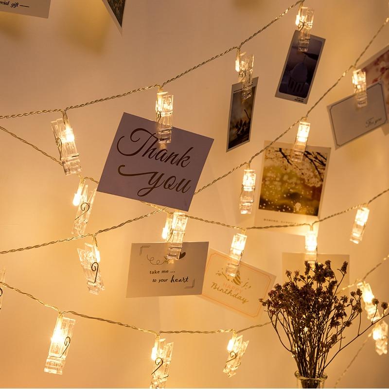 ANBLUB 1,5 M 2 M 3 M soporte de Clip de foto LED cadena luces para Navidad Año Nuevo Fiesta boda hogar batería de luces de hadas de decoración