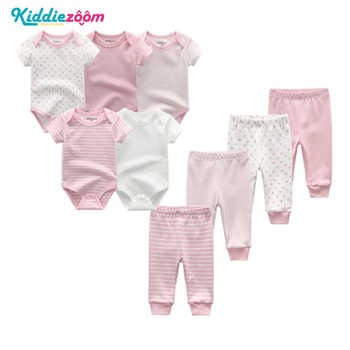 9PCS/LOT Newborn Baby Clothes Sets 100% Cotton Rompers+ Pants Baby Jumpsuit Girl Clothing Pants Ropa Bebe Toddler Clothing Sets
