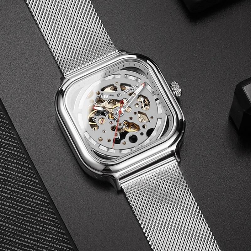 Fashion Silver 3D Skeleton Automatic Square Mechanical Watch Man Luminous Hands Wristwatch Men s Analog Men