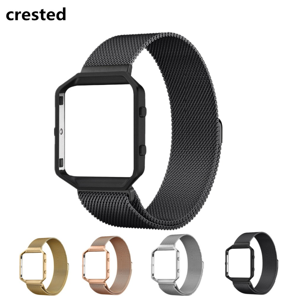 CRESTED Milanese Loop Strap + Metal Frame for Fitbit Blaze Stainless Steel Watch Band Magnetic Lock Bracelet Wristwatch Bracelet carlywet 23mm black 316l stainless steel replacement watch strap belt bracelet with case metal frame for fitbit blaze 23 watch