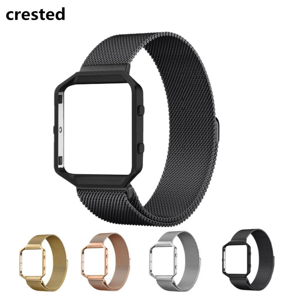 CRESTED Milanese Schleifenband + Metallrahmen für Fitbit Blaze Edelstahl Uhrenarmband Magnetverschluss Armband Armbanduhr Armband