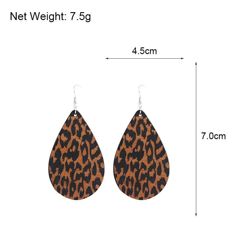 AENSOA Simple Vintage Leopard Wood Earrings African   Teardrop Drop Earrings For Women Wooden Water Drop Pendant Jewelry Gift 4