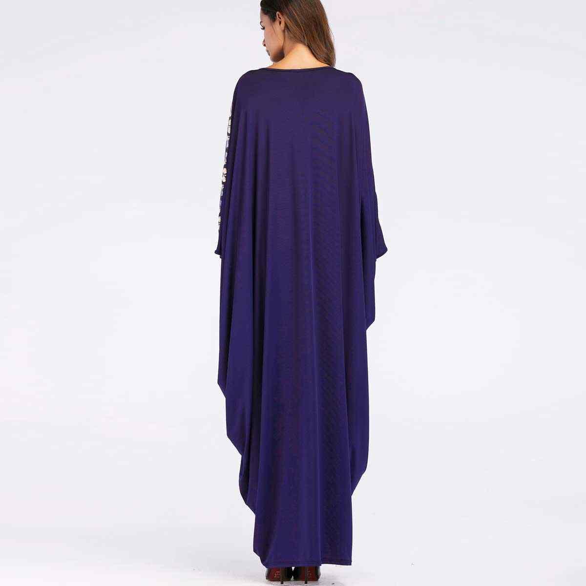 2019 Donne di Modo di Abaya Paillettes Manica A Pipistrello Maxi Vestito Etnico Thobe Chic abito patchwork abito VKDR1439