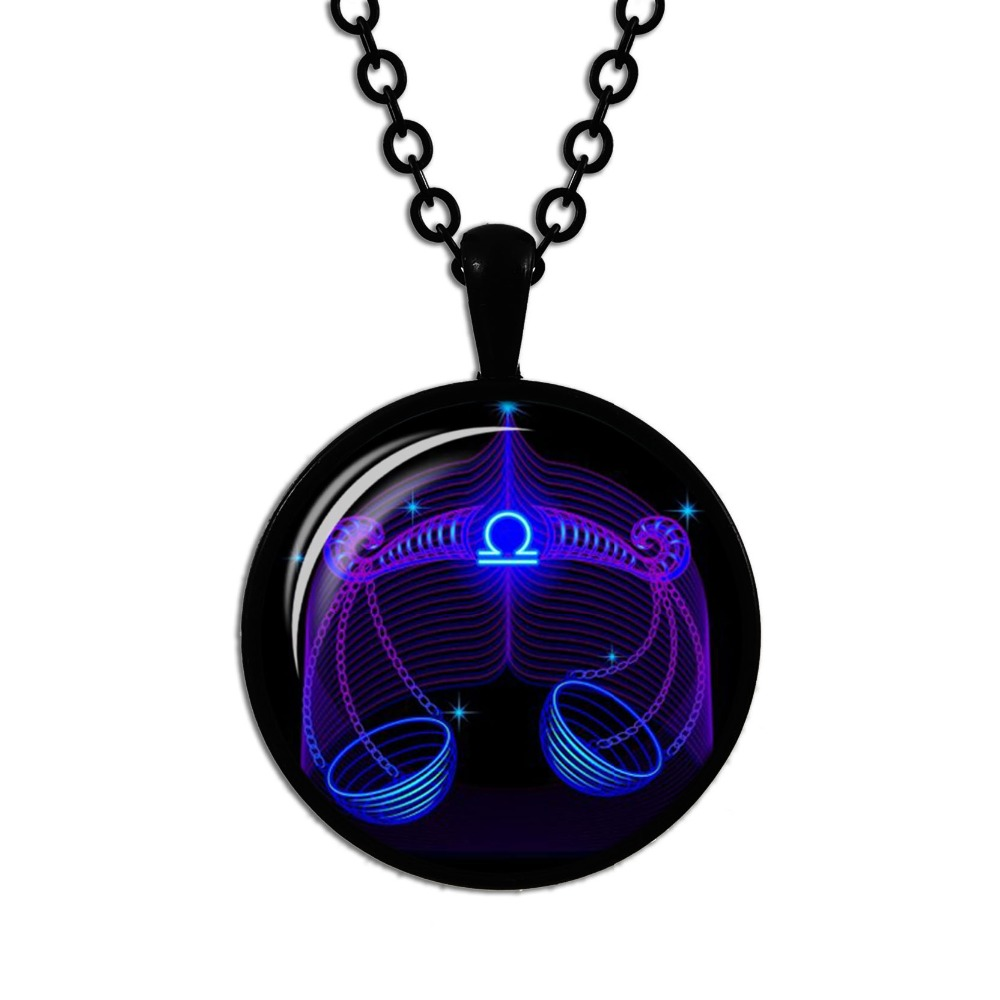 Hot Sale Fashion 12 Zodiac Sign Glass Cabochon Pendant Necklace Constellation Horoscope Astrology Statement Necklace for Women M in Pendant Necklaces from Jewelry Accessories