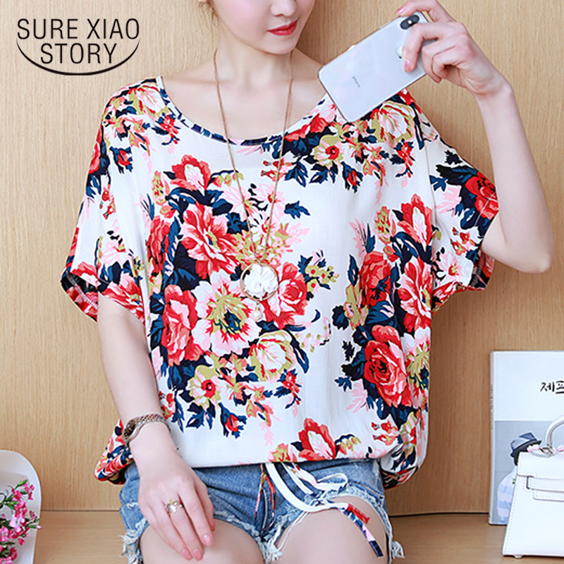 2018 new summer chiffon blouses shirts women tops loose plus size casual female clothing printed sweet lady women tops 0492 30