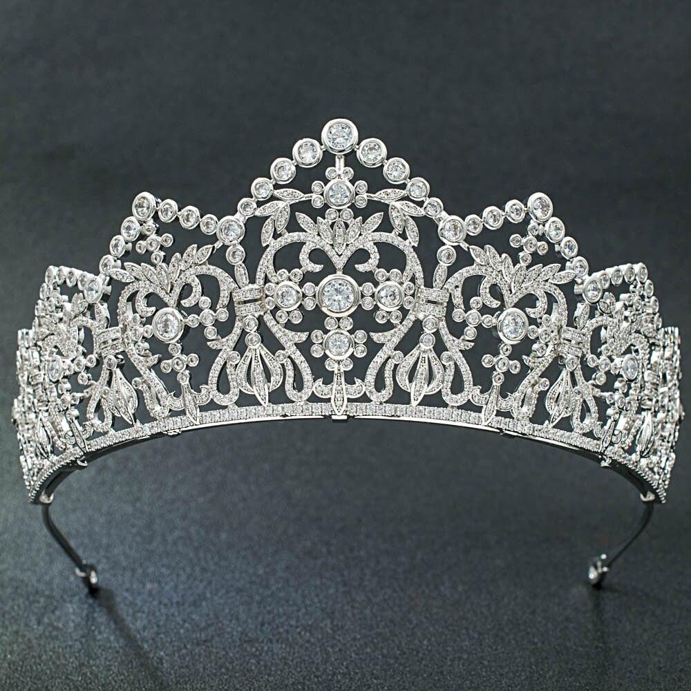 5A CZ Cubic Zirconia Classic Wedding Bridal Silver Big Tiara Diadem Crown Women Girl Prom Party
