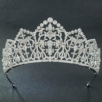 5A CZ Cubic Zirconia Classic Wedding Bridal Silver Big Tiara Diadem Crown Women Girl Prom Party Hair Jewelry Accessories S16439