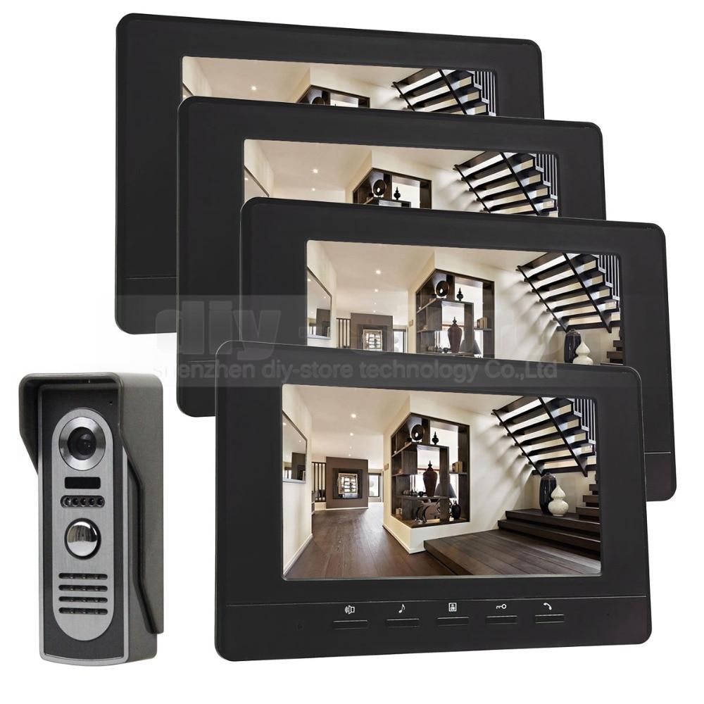 DIYSECUR 7inch Digital Screen Video Intercom Video Door Phone IR Night Vision Outdoor Camera Black