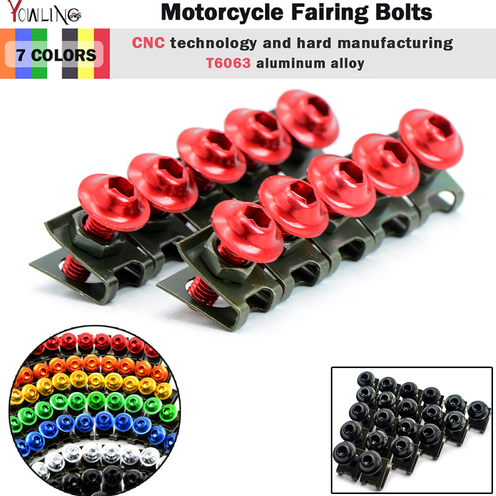 5pcs 6mm CNC Motorcycle Fairing body work Bolts Screws For Ducati 695 MONSTER MONSTER S2R 800 Honda NC700 S X NC700S NC700X