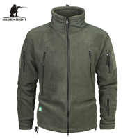 Mege Brand Clothing Coat Men Thicken Warm Military Army Fleece Jacket Patchwork Multi Pockets Polartec Men's Jacket and Coats
