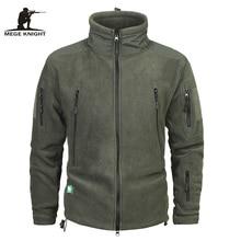 Mege Brand Clothing Coat Men Thicken Warm Military Army Fleece Jacket Patchwork Multi Pockets Polartec Mens Jacket and Coats
