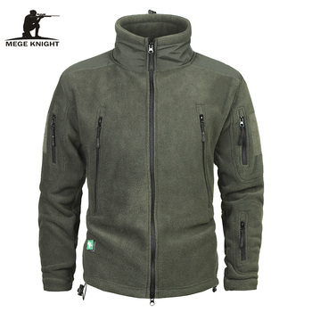 Mege Brand Clothing Coat Men Thicken Warm Military Army Fleece Jacket Patchwork Multi Pockets Polartec Men's Jacket and Coats