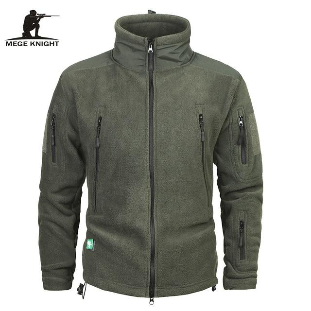 Mege 브랜드 의류 코트 남성 Thicken Warm Military Army 양털 재킷 패치 워크 멀티 포켓 Polartec Mens Jacket and Coats
