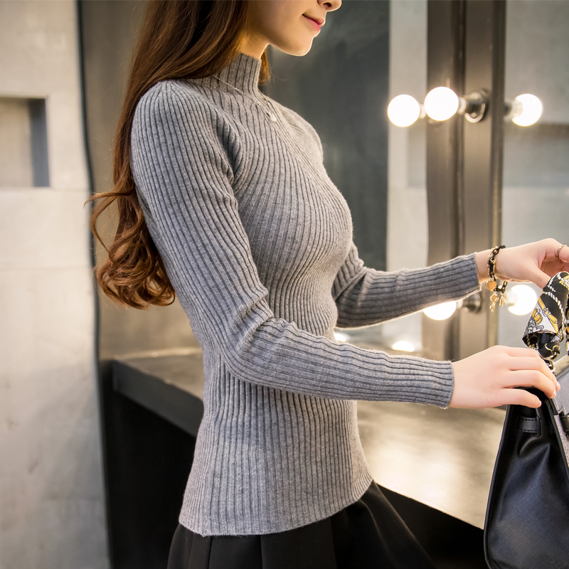 8 colors 2019 Autumn Women lady sweater high elastic Solid Turtleneck sweater women slim sexy tight
