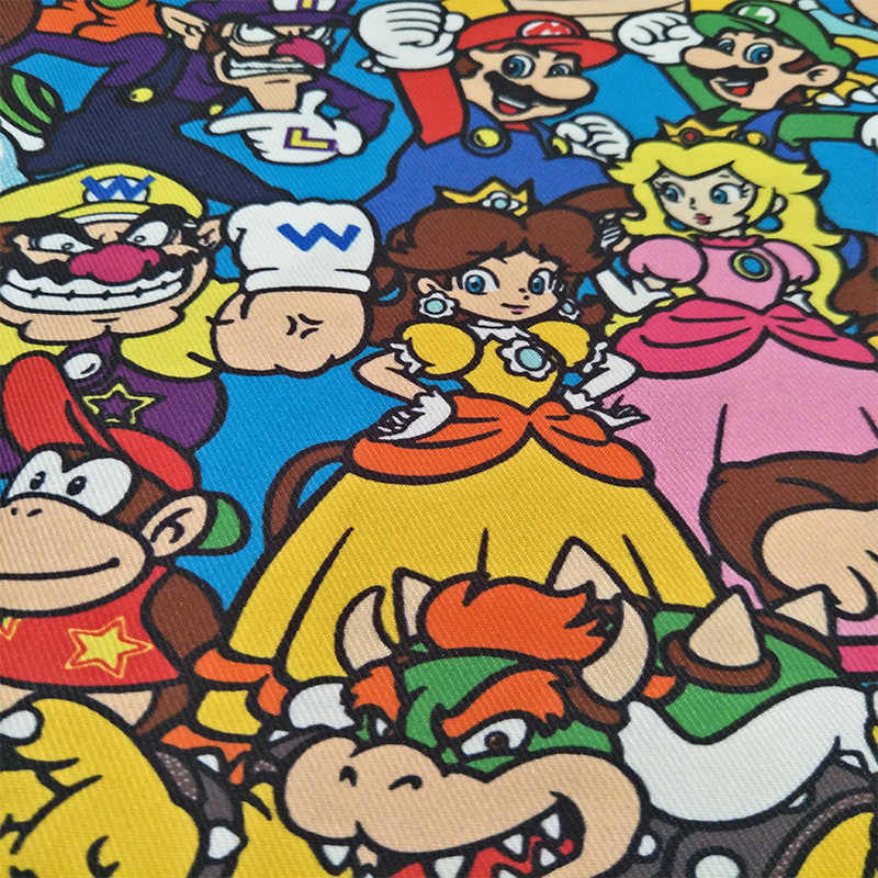 145cm Width Cartoon Super Mario Bros Family Polyester Fabric for Baby Boy Girl Clothes Schoolbag Curtain Table Cloth DIY