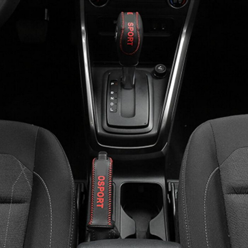 Tonlinker Cover Case Stickers for Ford Ecosport 2018 Car Styling 2 PCS PU Leather The Gear Shift Collars Interior cover stickers in Gear Shift Collars from Automobiles Motorcycles