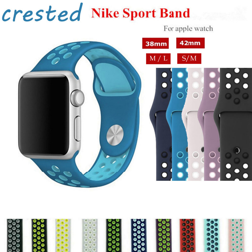 CRESTED sport strap for apple watch band 42mm 38mm Silicone watch strap for apple watch iwatch 3/2/1 rubber bracelet watchband eache silicone watch band strap replacement watch band can fit for swatch 17mm 19mm men women