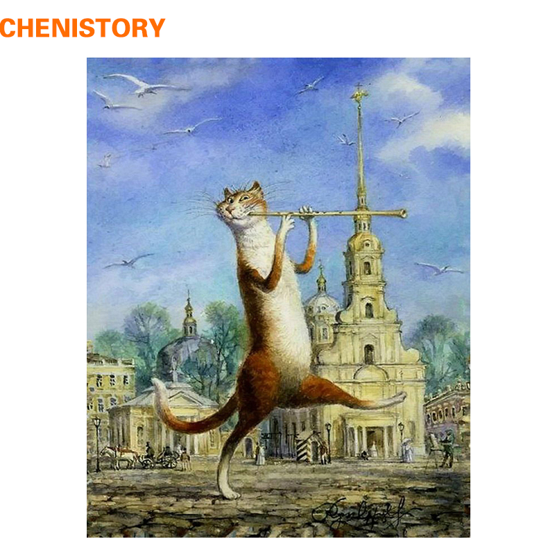 CHENISTORY Music Cat Animals DIY Painting By Numbers Abstract Modern Wall Art Picture Acrylic Unique Gift For Home Decor Artwork