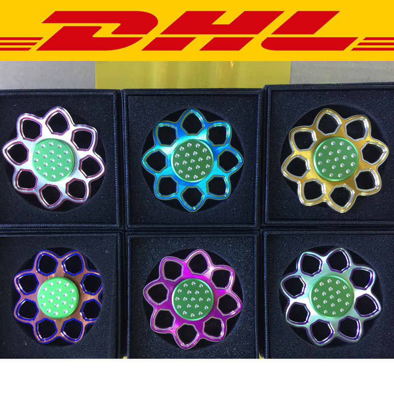 2017New 100pcs mixing Aluminium Metal Lotus Round Finger Spinner Adults Anti Stress Relief Toy Gift Autism ADHD EDC Hand Spinner