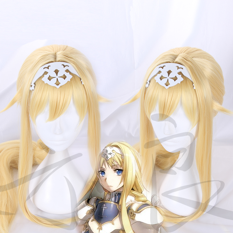 Sword Art Online Cosplay Wig Alice Synthesis Thirty Golden Long Braids Adult Synthetic Hair + Wig Cap