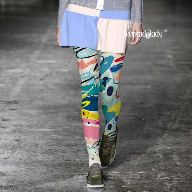 Mulher Pantis Medias Meias Meias Mulheres Tendência de Moda Europeus E Americanos de Impressão a Cores Para Tide Marca de Graffiti Collants