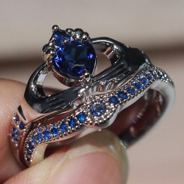 Blue Birthstone claddagh ring 2