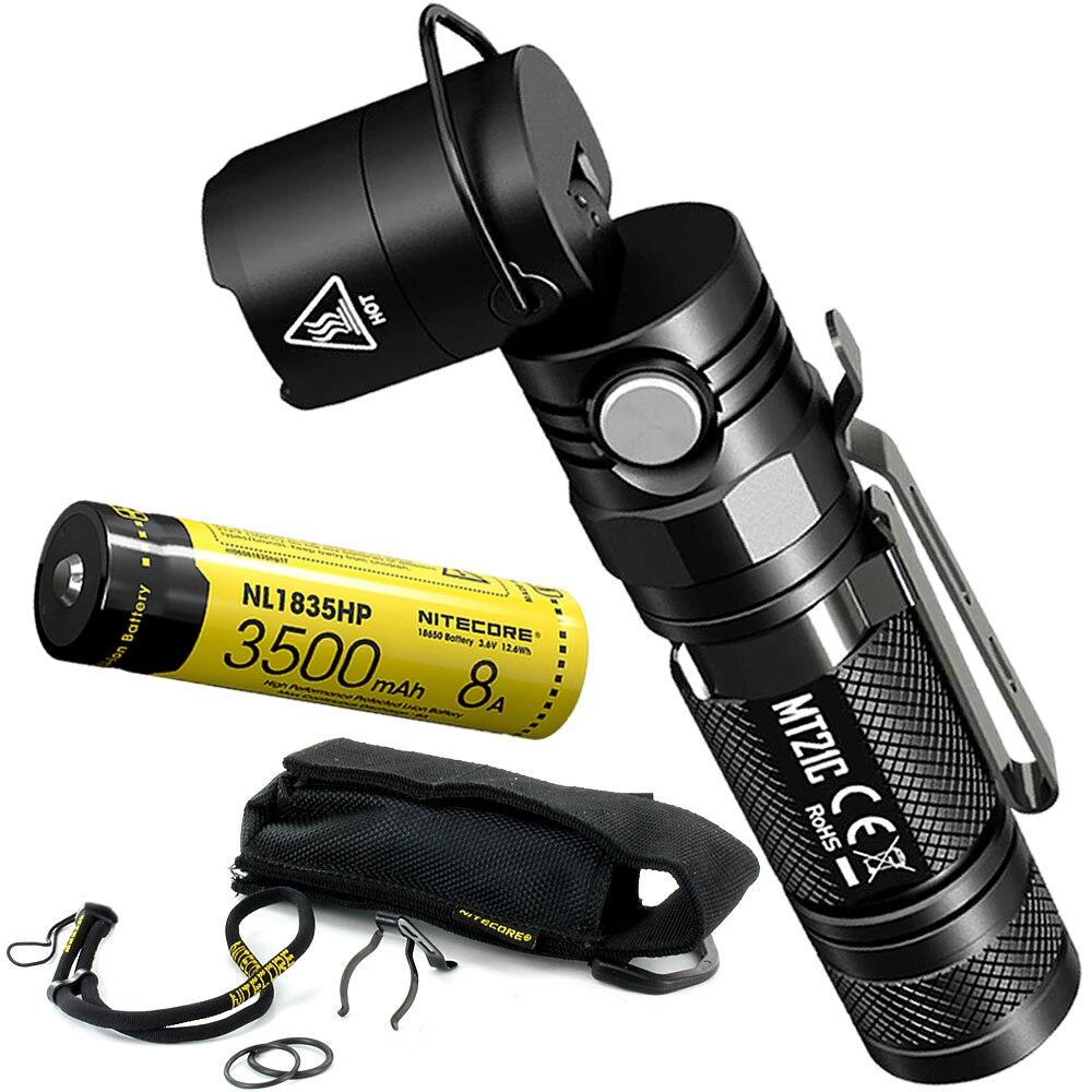 все цены на Top Sales NITECORE MT21C + 18650 Battery Multi-functional 90 Degree Adjustable LED Flashlight Outdoor Portable Diecast EDC Torch онлайн
