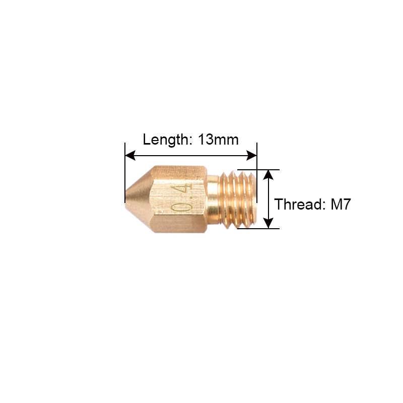 3D Printer Nozzle Campuran Ukuran 0.2/0.3mm/0.4mm/0.5mm Extruder Print Head Untuk 1.75 MM MK8 Makerbot