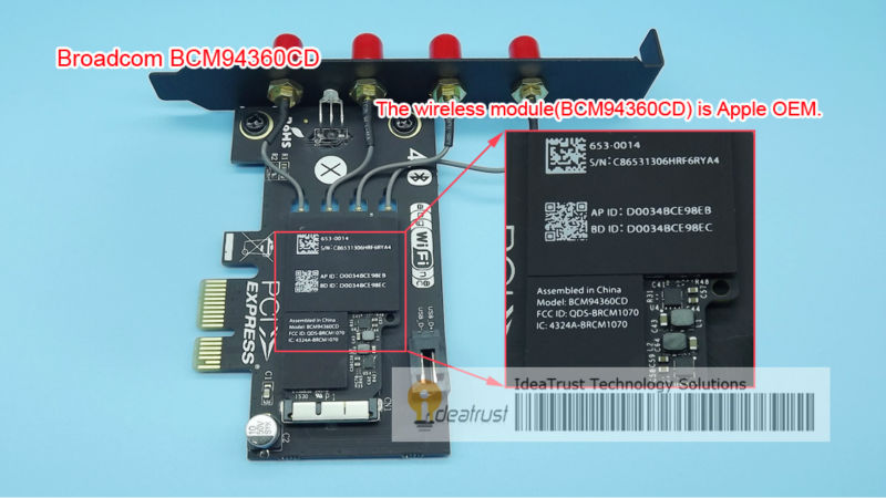 BCM94360CD double bande 2.4 & 5 GHz AC 4 antennes carte réseau sans fil avec BT4.0 pour hackinttosh